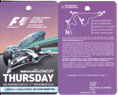 U.A.E. - F1 Abu Dhabi Grand Prix, Yas Marina Circuit, Ticket Card, Used - Unclassified
