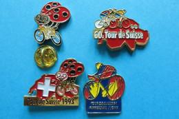 Lot De 4 Pin's, Velosport, Velo, Radsport, Cycling,TDS, Tour De Suisse - Cycling