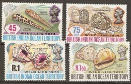 British Indian Ocean Territories  1974 SG  58-61  Wildlife 74   Mounted Mimt - British Indian Ocean Territory (BIOT)