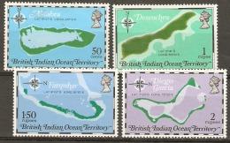 British Indian Ocean Territories  1975 SG  81-4 Territory Maps  Mounted Mimt - British Indian Ocean Territory (BIOT)