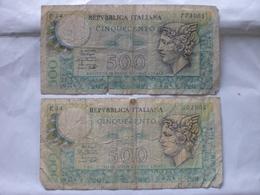 MONEY PAPER CARTA MONETA ITALIA 500 LIRE X 2 TAGG. - [ 2] 1946-… : Repubblica