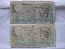 MONEY PAPER CARTA MONETA ITALIA 500 LIRE X 2 TAGG. - [ 2] 1946-… : Républic