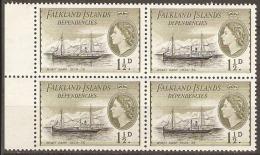 Falkland Isles  Dependencies  1954  G28  1,1/2d  Unmounted Mint Block Of Four - Falklandinseln