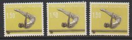 Liechtenstein 1957 Sport IV Barrenturnen 1.50Fr  3x Unused Regummed  (39551N) - Liechtenstein