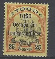 Togo Postes N° 26 25pf Rouge Et Noir Sur Jaune Qualité: * Cote: 80 € - Togo (1914-1960)