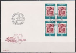 Lichtenstein FDC  1980  MiNr.750 4er Block 50 Jahre Postmuseum Vaduz ( D 1675 ) Günstige Versandkosten - FDC