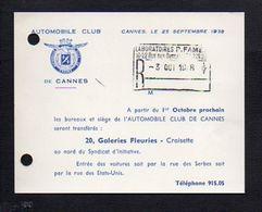 1938 Carte De Visite Publicitaire De L'Automobile Club De Cannes / Transfert Des Bureaux Et Du Siège - Cartoncini Da Visita