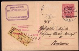 Poland 1919. Fi Cp 16IIx Overprint Registered Stationery From Poronin To Krakow. Apteka A. Wilczka. R - ....-1919 Übergangsregierung