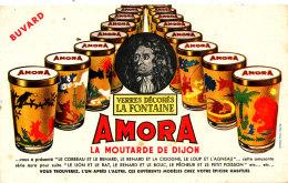 BU 1509 / BUVARD  AMORA LA MOUTARDE DE DIJON  VERRES DECORES  LA FONTAINE - Mostard