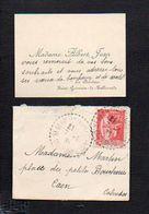 """1935 Carte De Visite Avec Enveloppe De Madame Albert Jean """"La Delotière"""" à St Saint Germain De Tallevende 14 - Visiting Cards"""