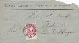 Reichs Post Cover Posted From Ründeroth 23.8.1880 - Benklingen Cachet On Back   (G81-119) - Germany