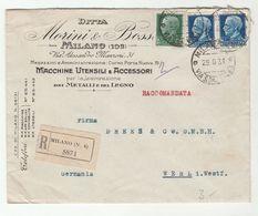 1931 Registered MILAN Via 'AMB GENOVA CHIASSO 53' TPO Train To WERL Italy To Germany ADVERT COVER Stamps Railway - 1900-44 Vittorio Emanuele III