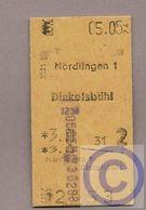 Fahrkarte (Bundesbahn) - Nördlingen - Dinkelsbühl - 1974 - Bahn