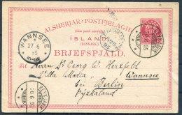 1895 Iceland Stationery Postcard Reykjavik - Berlin Wannsee 'Leith Ship Letter' Paquebot - 1873-1918 Danish Dependence