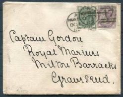 1882 GB Huntley Cover - Captain Gordon, Royal Marines, Military Barracks, Gravesend - Storia Postale