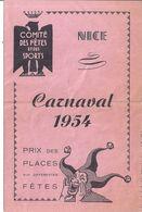 NICE-CARNAVAL 1954-COMITE DES FETES ET DES SPORTS - Programs