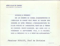 AERO-CLUB DE CANNES  GALERIES FLEURIES- INAUGURATION DU CLUB-HOUSE A ST-CASSIEN SEPT 1953 - Mappe