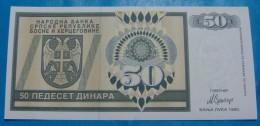 BOSNIA & HERZEGOVINA *REPUBLIKA SRPSKA* 50 DINARA 1992. PICK-134, UNC. - Bosnië En Herzegovina