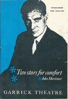 """Programme Garrick Theatre Londres 1962 """"Two Stars For Comfort"""" John Mortimer Trevor Howard Isabel Dean Esmond Knight - Programs"""