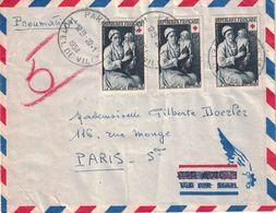 PARIS - PNEUMATIQUE - PARIS 113 - HOTEL DE VILLE LE 20-1-1954 - BEL AFFRANCHISSEMENT - VERSO *PARIS V* 10.B.DE L'EPEE DE - Postmark Collection (Covers)