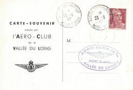 SEINE ET MARNE - MORET SUR LOING - QUINZAINE AERONAUTIQUE - 25-5-1947 - Luchtpost