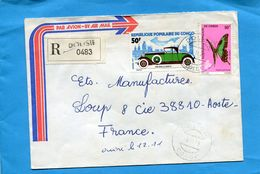 MARCOPHILIE-lettre-REC-CONGO->France-cad-DOLISIE-1975- 2-stamp-N°Auto Rolls Royce-306-papillon -butterfly-phorcas - Congo - Brazzaville