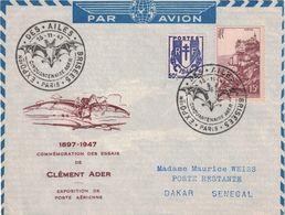 PARIS - EXPOSITION DES AILES BRISEES - 15-11-1947 - COMMEMORATION CLEMENT ADER - LETTRE POUR DAKAR. - Luchtpost