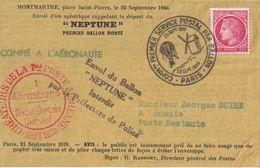 PARIS - COMMEMORATION DU 1er SERVICE POSTAL AERIEN - MAZELIN  1F SEUL SUR PLI - EN POSTE RESTANTE. - Luchtpost