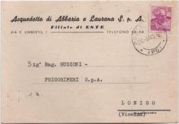 Acquedotto Di Abbazia E Laurana S.p.A., Filiale Di Este (Padova). Cartolina Pubblicitaria Viaggiata Nel 1965 - Padova (Padua)
