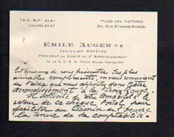 Carte De Visite De Emile Auger Joallier Orfèvre Président Du Comité (Croix Rouge Française),Place Des Victoires à Paris - Visiting Cards