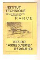 """INSTITUT TECHNIQUE RANCE - WEEK-END """" PORTES OUVERTES"""" 19 & 20 Mai 1990 - Programs"""