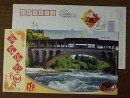 Rainhouse Bridge,forest Stream,China 2008 Mingxi Hometown Of Chinese Taxus Chinensis Tree Advertising Pre-stamped Card - Bridges