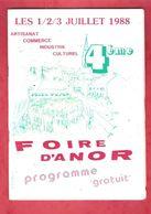 4 ème FOIRE D'ANOR - LES 1/2/3 JUILLET 1988 - Programme Gratuit - Programmes