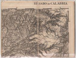 1-Cartina Geografica Del 1876 Di Reggio Calabria In Carta Telata Cm74 X 57 - Carte Geographique
