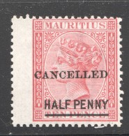 Victoria  Half Penny On 10d. SG 79  CANCELLED Wing Copy  MM - Mauritius (...-1967)