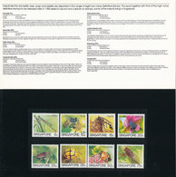 Singapore Presentation Pack Complete Set Of 8 New Definitive Stamps INSECTS 1985 In Mint Condition In Original Envelope - Singapour (1959-...)