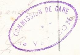 Cachet - Commission Militaire - Gare De Vierzon Sur Carte Vierzon - Le Grand Pont Sur Le Canal - Marcophilie (Lettres)