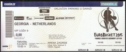 Croatia Zagreb 5.9.2015 / EUROBASKET 2015 / Basketball / Georgia - Netherlands - Biglietti D'ingresso