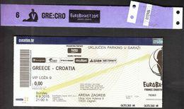 Croatia Zagreb 6.9.2015 / EUROBASKET 2015 / Basketball / Greece - Croatia / VIP Ticket, Vip Hand Bracelet - Biglietti D'ingresso