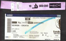 Croatia Zagreb 10.9.2015 / EUROBASKET 2015 / Basketball / Georgia - Croatia / VIP Ticket, Vip Hand Bracelet - Biglietti D'ingresso
