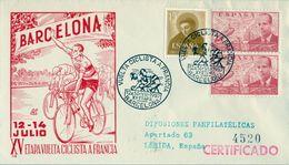 1957 , CICLISMO , TOUR DE FRANCIA , SOBRE CONMEMORATIVO , XV ETAPA VUELTA CICLISTA A FRANCIA - Cyclisme