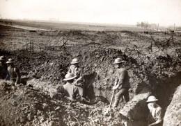 WWI France Front De L'Ouest Troupe Britanniques Tranchee Allemande Ancienne Photo 1910's - War, Military