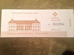 Birzai Regional Museum Birzai Castle 2013 Lithuania - Biglietti D'ingresso