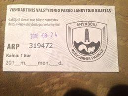 Anyksciai Regional Park Ticket 2016 Lithuania - Biglietti D'ingresso