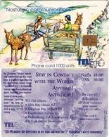 TARJETA TELEFONICA DE ST. MAARTEN (ANTILLAS HOLANDESAS) TEM-0013, MEETING ON THE ROAD. (010) REVERSO DIFERENTE COLOR. - Antilles (Netherlands)