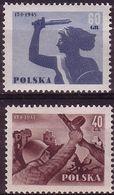 1955, Poland, Mi 897 - 898, WW II, The Ruins Of Warsaw. 10th Anniversary Of The Liberation Of Warsaw. MNH** - Ongebruikt