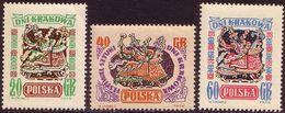 1955, Poland, Mi 917 - 919, Days Of Krakow. Lajkonk - Folklore. MNH** - 1944-.... République