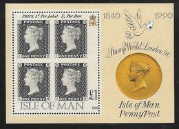 Isle Of Man - 1990 Penny Black 150th Anniv. / Stamp World Miniature Sheet MNH - Man (Ile De)