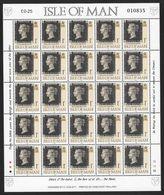 Isle Of Man - 1990 Penny Black 150th Anniv. 25 X 1p Sheetlet, Numbered Edition MNH - Man (Ile De)