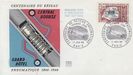 Enveloppe  FDC   1er  Jour   FRANCE   Centenaire  Du   Réseau   Pneumatique   1966 - 1960-1969